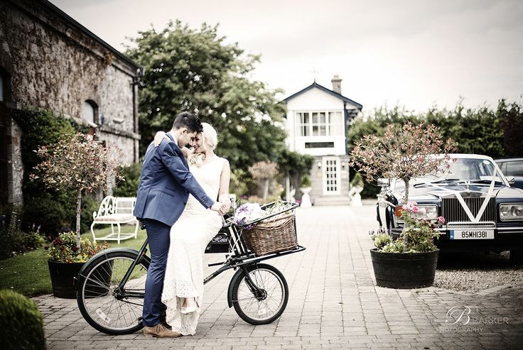 The Station House Hotel styled photoshoot of bride and groom on their wedding day. fab vintage look...gotta love a bike!