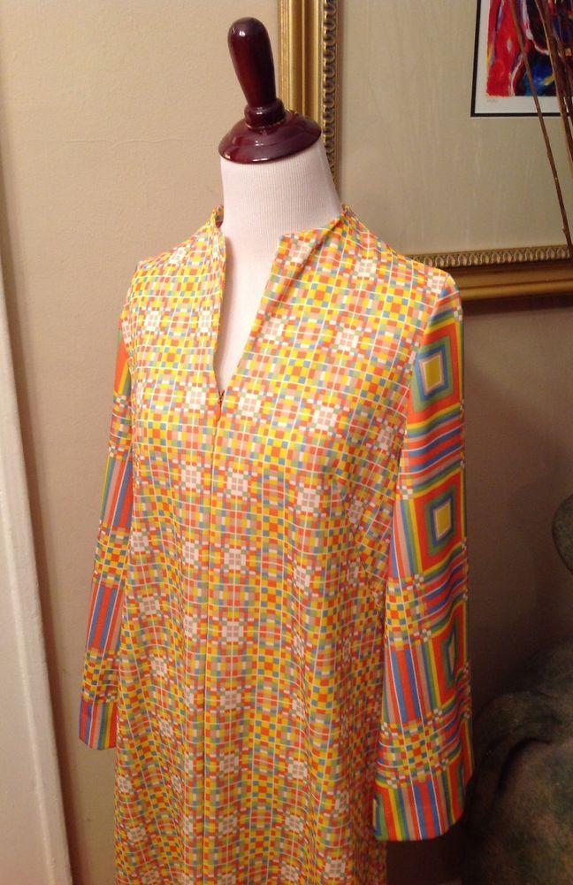 Vintage Robe Women's Large Gossard Loungewear Psychedelic Caftan Zipper Front #Gossard