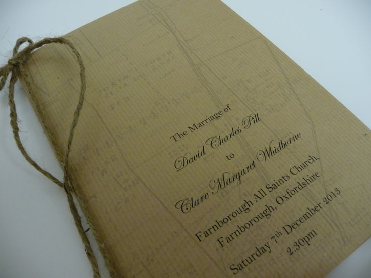 Rustic themed Wedding Order of Service booklets