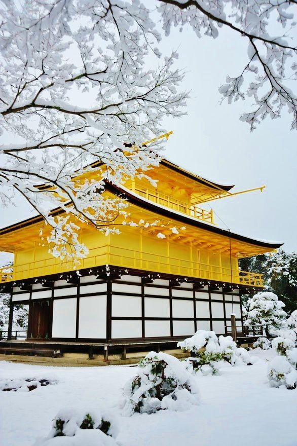 Kinkakuji Temple in snow. Japan