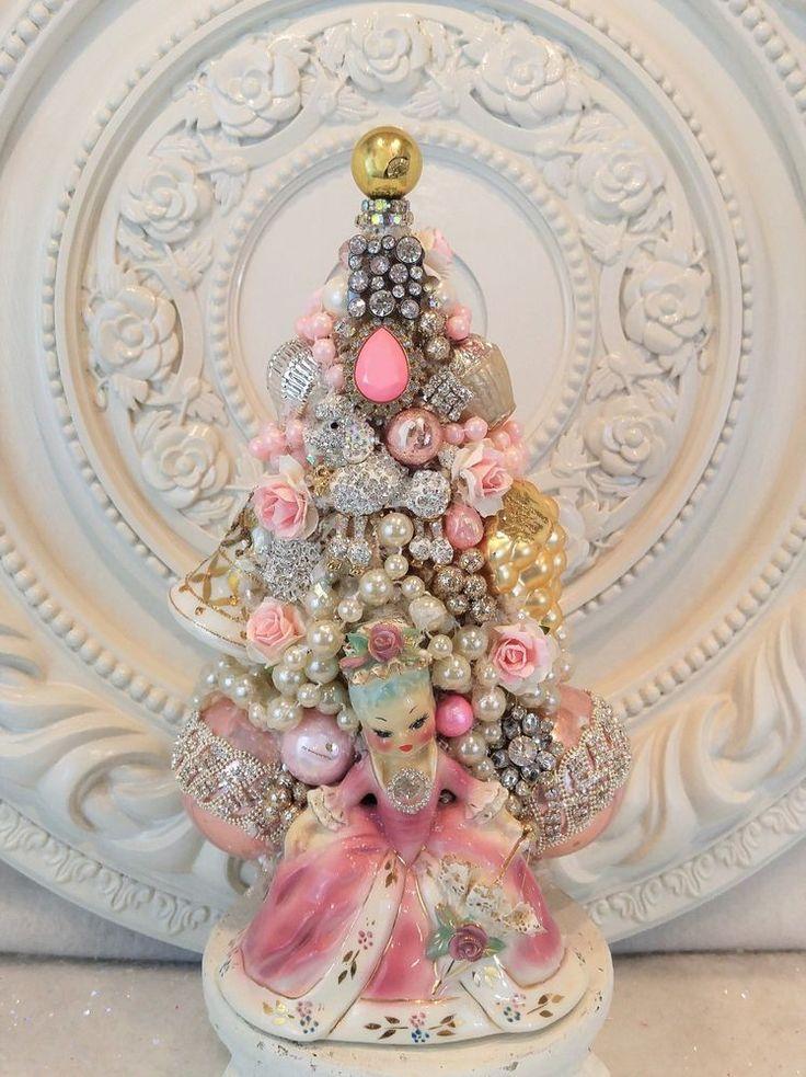 vInTaGe Marie Antoinette Bottle BRUSH tree OrNaMeNt FRENCH Poodle Rhinestone PiN