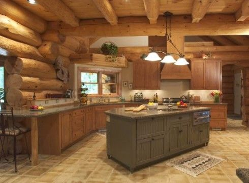 log cabin kitchenLogs Cabin Kitchens, Dreams Kitchens, Logs Cabin Home, Log Cabins, Interiors Design, Cabin Interiors, Logs Home Interiors, Home Kitchens, Open Kitchens