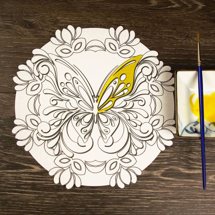 Bold and beautiful! Our Butterfly Masquerade Mandala ColorMe Decal features a swirly butterfly set atop a circle of masked plumage. Intricacy level: low