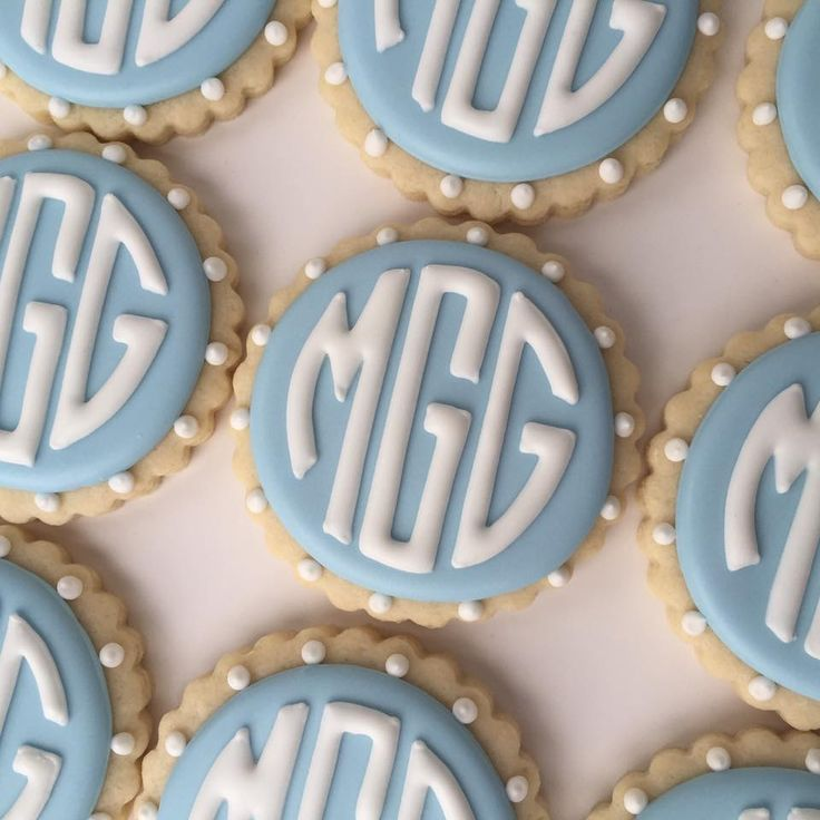 baby boy shower monogram cookies