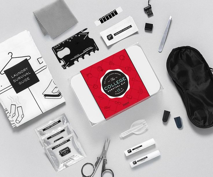 College Survival Kit by Pinch Provisions contains 12 must-haves to avoid minor dormitory disasters.