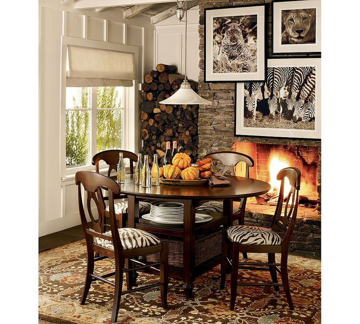 Small Table White Wall Stone Fireplace With Wild Animal