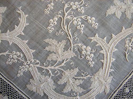 Circa 1800's, Fine Whitework Hankerchief w/ Crown & Bobbin Lace