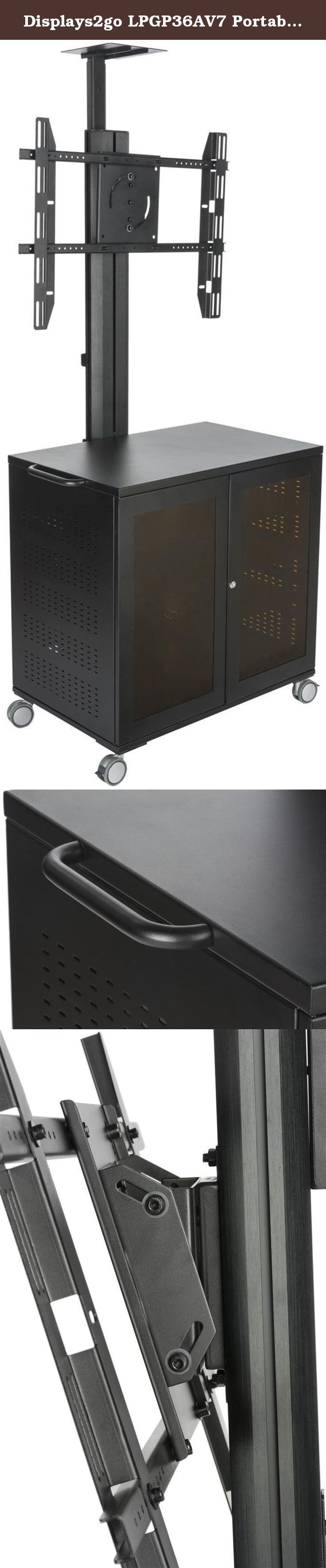"""Displays2go LPGP36AV7 Portable TV Stand with Locking Storage Cabinet, 30-84"""" VESA Mount. TV stand with locking cabinet for multimedia accessories. VESA mount holds 30-84"""" monitors and flat screen TVs. Plasma stand has 4 heavy duty wheels. Rolling TV stands can hold up to 330 lbs in weight. Cord management keeps unit neat and tidy."""