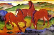 Grazing Horses IV Aka The Red Horses  by Franz Marc