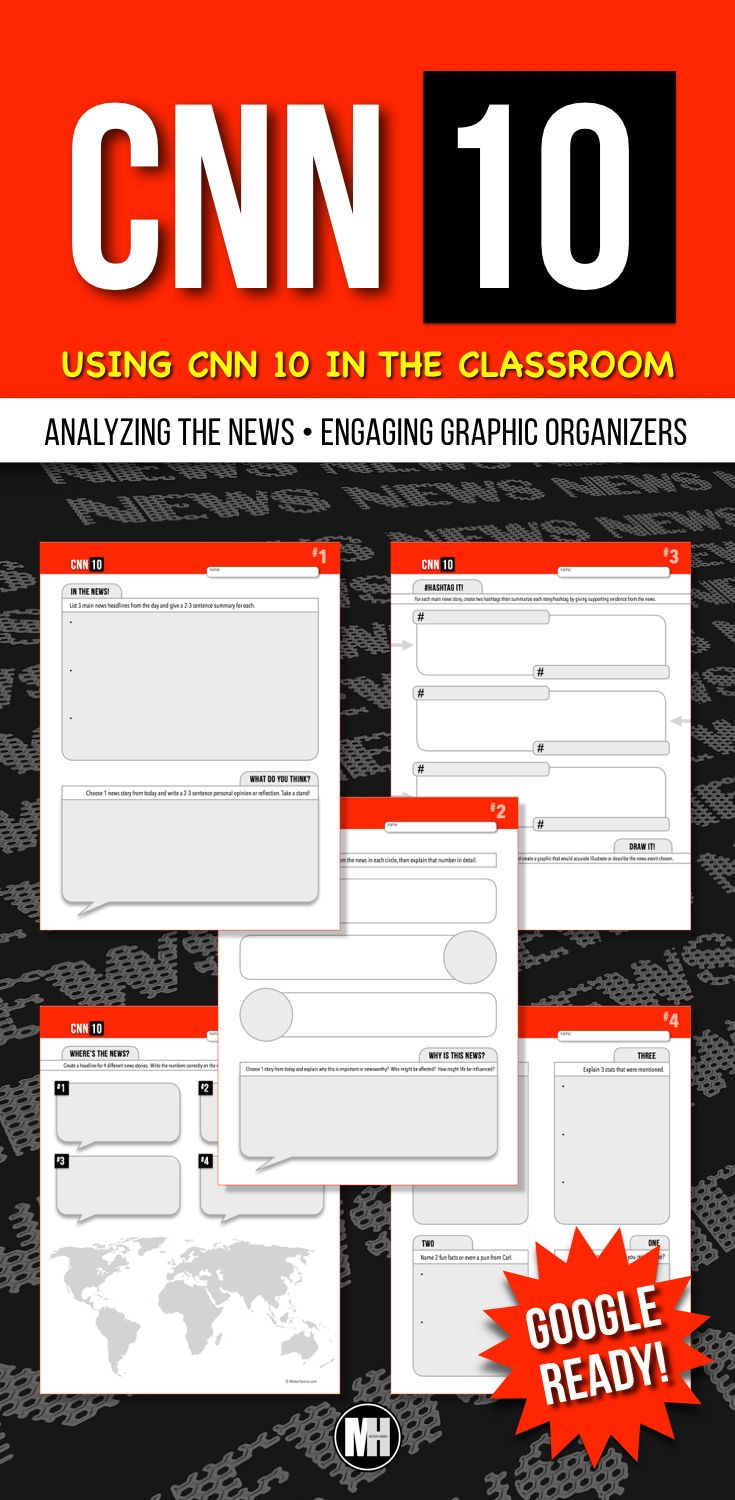 CNN 10 is the perfect source for students to stay informed on current events. This set of graphic organizers is an excellent way to analyze and summarize the current events of the day using CNN 10 - or formerly known as CNN Student News. #cnn10 #cnnstudentnews #currentevents