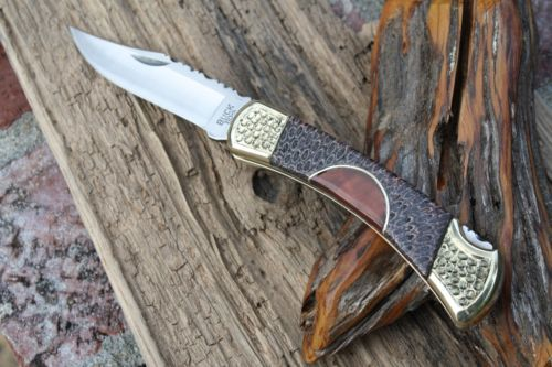 Buck 110 with Fossil Coral Handle by Cameron Custom Leather Sheath File Work   eBay