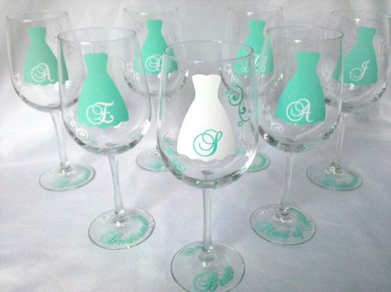Tiffany Bridesmaid wine glasses, 7 tiffany blue with white accents.  Wedding party gift wine glasses, Maid of honor and Bridesmaids gifts. $84.00, via Etsy.