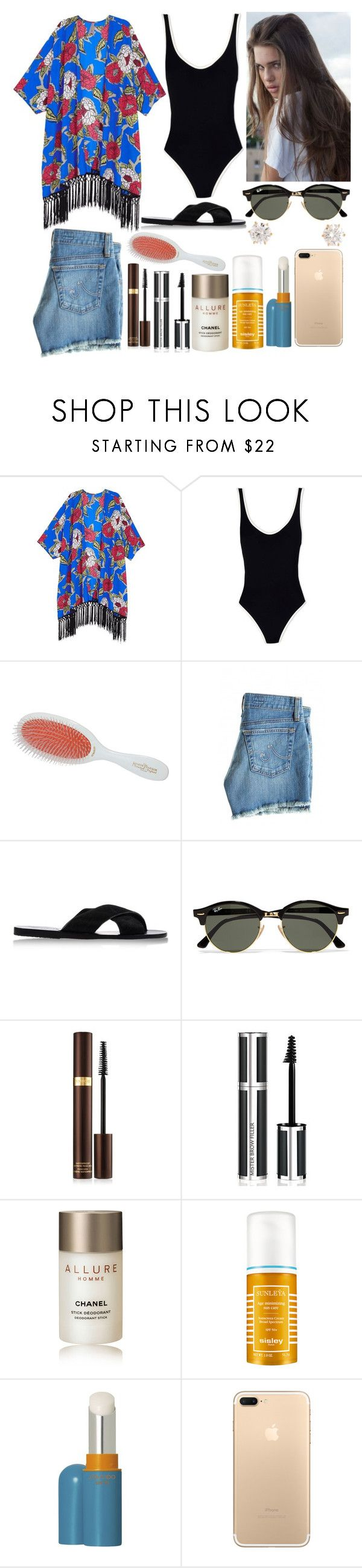 """Beach Date"" by jacie ❤ liked on Polyvore featuring Melissa McCarthy Seven7, Solid & Striped, Mason Pearson, AG Adriano Goldschmied, Ancient Greek Sandals, Covo, Ray-Ban, Tom Ford, Givenchy and Chanel"