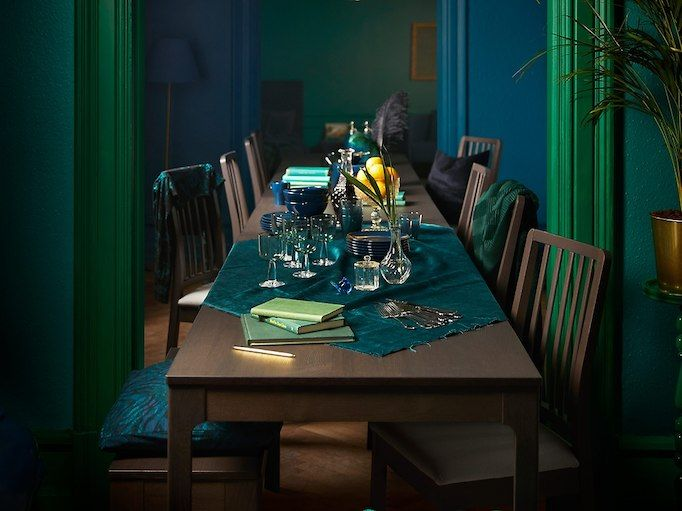 Our IKEA EKEDALEN dinner table  is always ready for extra guests, thanks to the hidden extension.