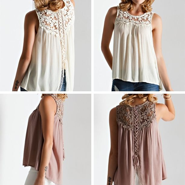 Crochet Lace-Up Back Top - Cream - $41.50