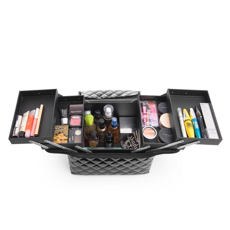 En sminklåda som gör att du enkelt kan organisera smink, sminkborstar och andra skönhetsprodukter.