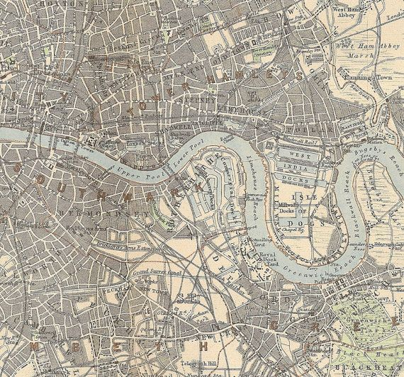 Victorian London map print