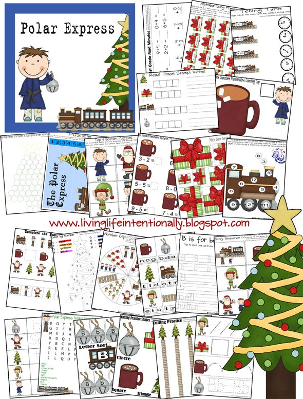a FREE 53 page activity kit for preschool through grade 1, based on the Polar Express - from Living Life Intentionally!