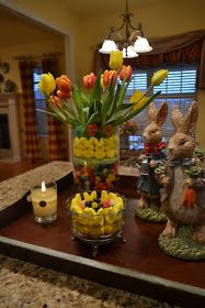 Easter is in less that a week! I wanted to share a Pinterest inspired arrangement I made the other day using jelly beans, edible grass, bun...
