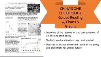 China's One-Child Policy and updates! This short reading gives a great overview of the causes and effects of China's one-child policy and the nation's reasons for loosening these restrictions. It covers China's gender imbalance, growing aging population, and shrinking labor force while asking students questions that test their comprehension skills and their ability to read maps and graphs.