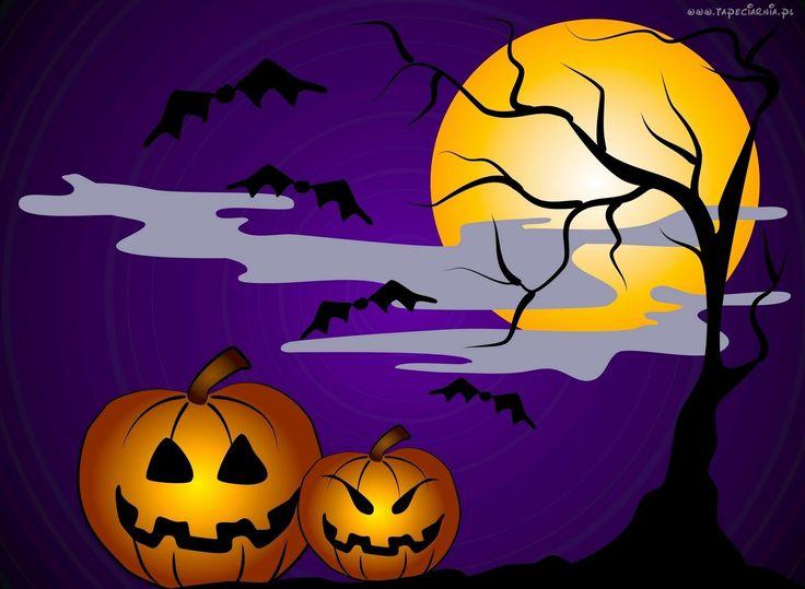 Dwie, Dynie, Księżyc, Drzewo, Halloween, Grafika