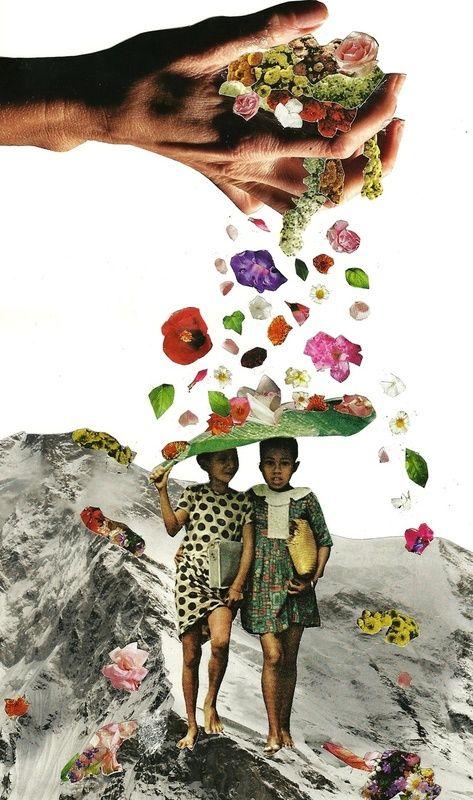 """""""Rain"""" by Caroline A. dit is een collage. Een collage is een kunstvorm die bestaat uit uitgeknipte stukken papier die op steviger papier of op schildersdoek geplakt zijn. De gebruikte materialen kunnen knipsels uit kranten zijn,maar het kan alle kanten op.(foto's, tekeningen, etc.)"""