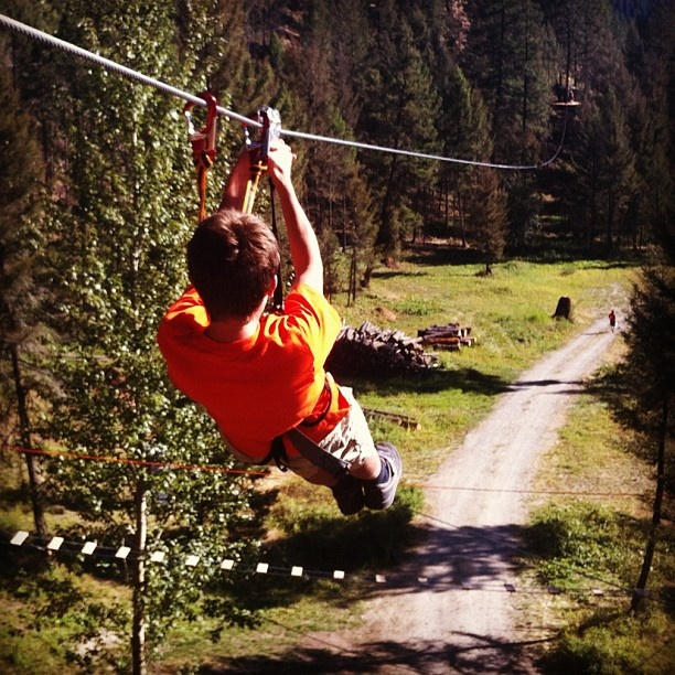 """Flying high on the DragonFLY Zip Lines - Wildplay Adventure Park - Kelowna"" Photo by @janvozenilek #explorebc"