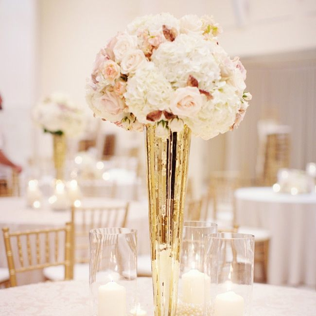 Gold Wedding Centerpiece Decorations: Romantic, Vintage Wedding Centerpieces