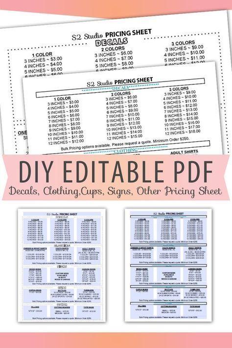 Editable Pdf Pricing Sheet Letter Size Form Blank Custom
