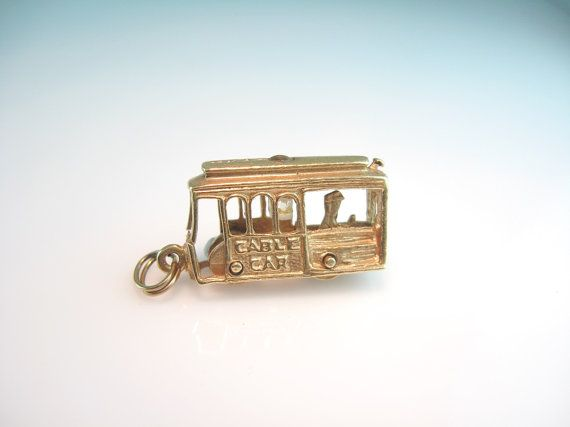 14K Gold Cable Car Charm Pendant San Francisco Stanhope