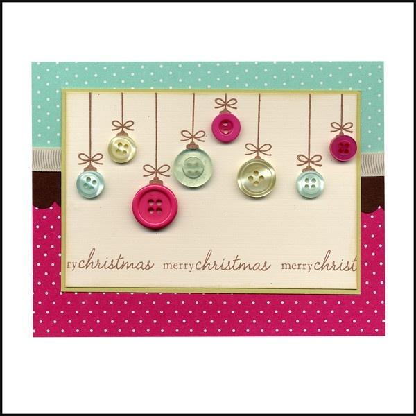 Cute handmade button christmas card christmas cards for Handmade christmas cards pinterest