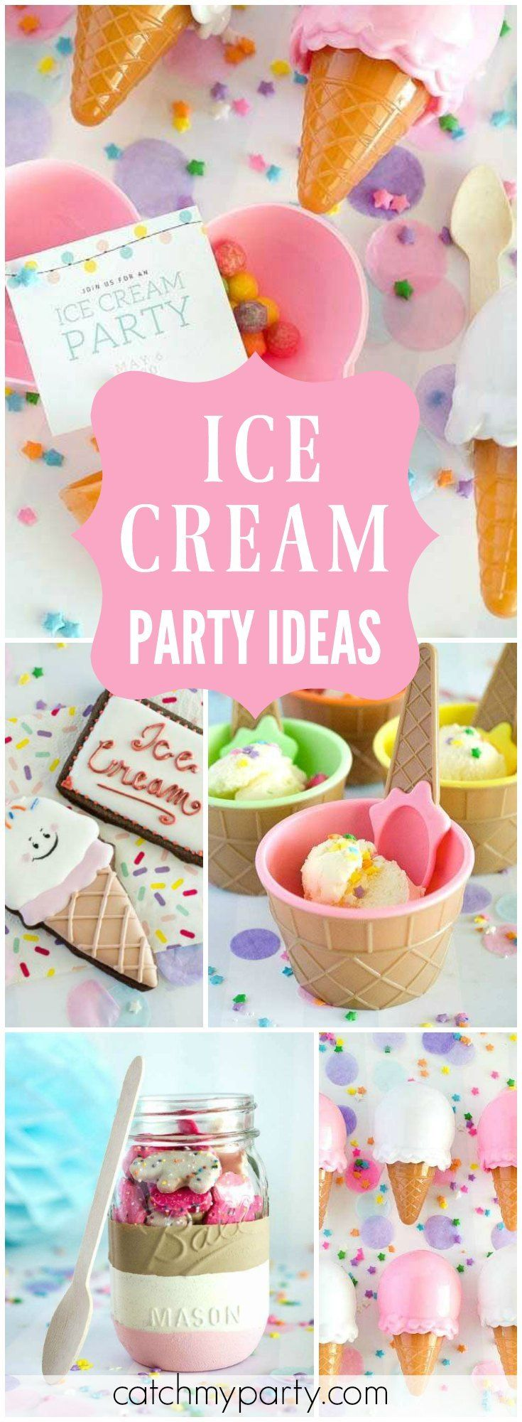 You have to see the terrific treats at this ice cream bash! See more party ideas at Catchmyparty.com!