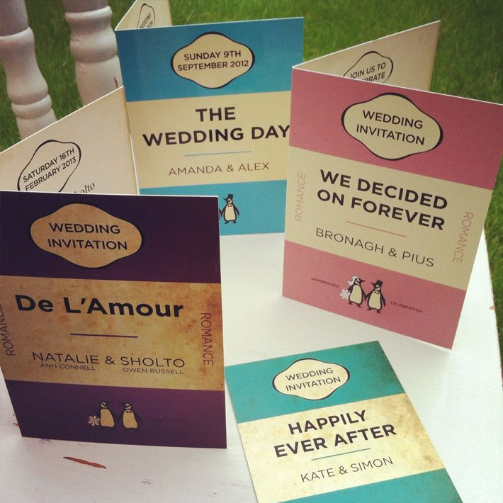 book cover theme wedding invites