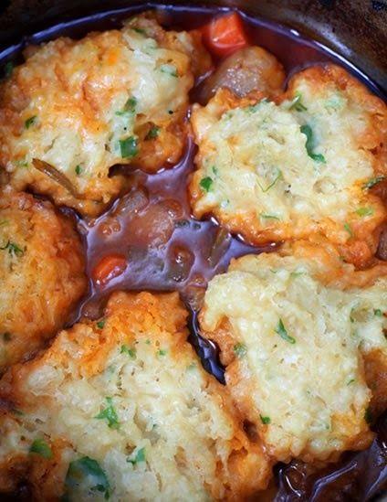 Crock Pot Beef Stew and Herb Dumplings  Ingredients: 2 lbs top round steak or lean stew beef, in 1 inch pieces 2 celery ribs, sliced 4 carro...