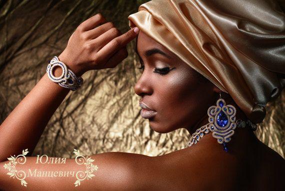Soutache necklace bracelet and se'g