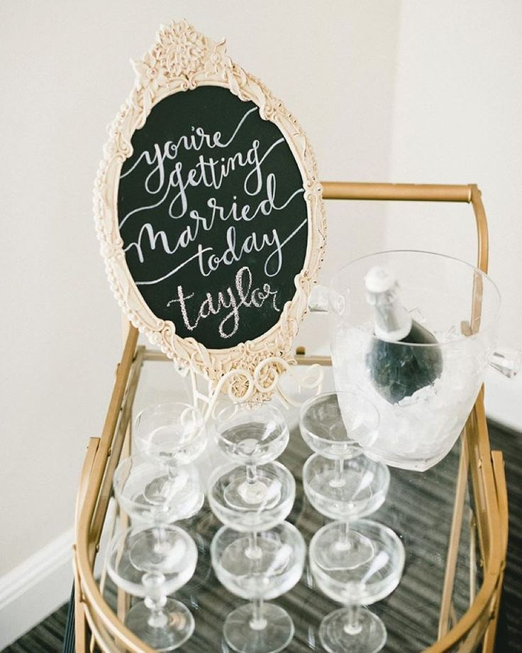 """""""How cute is this champagne cart sign?! Perfect for the morning-of!  #theknot  via @myonelove   Planning: @greenappleeventco"""""""