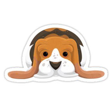 Cartoon Basset Hound Stickers by AnMGoug on Redbubble. #dog #sticker #bassethound