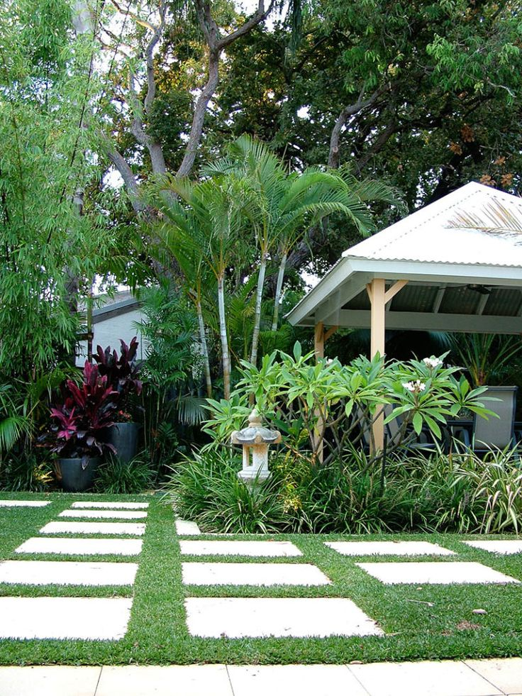 Nedlands Tropical Garden Design with pavilion and frangipani