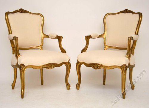 Pair Of Antique French Gilt Wood Salon Armchairs - Antiques Atlas. Salon  ChairsLounge FurnitureArm ... - 65 Best Antique Lounge Furniture Chaise Sofa's Arm Chairs Images On