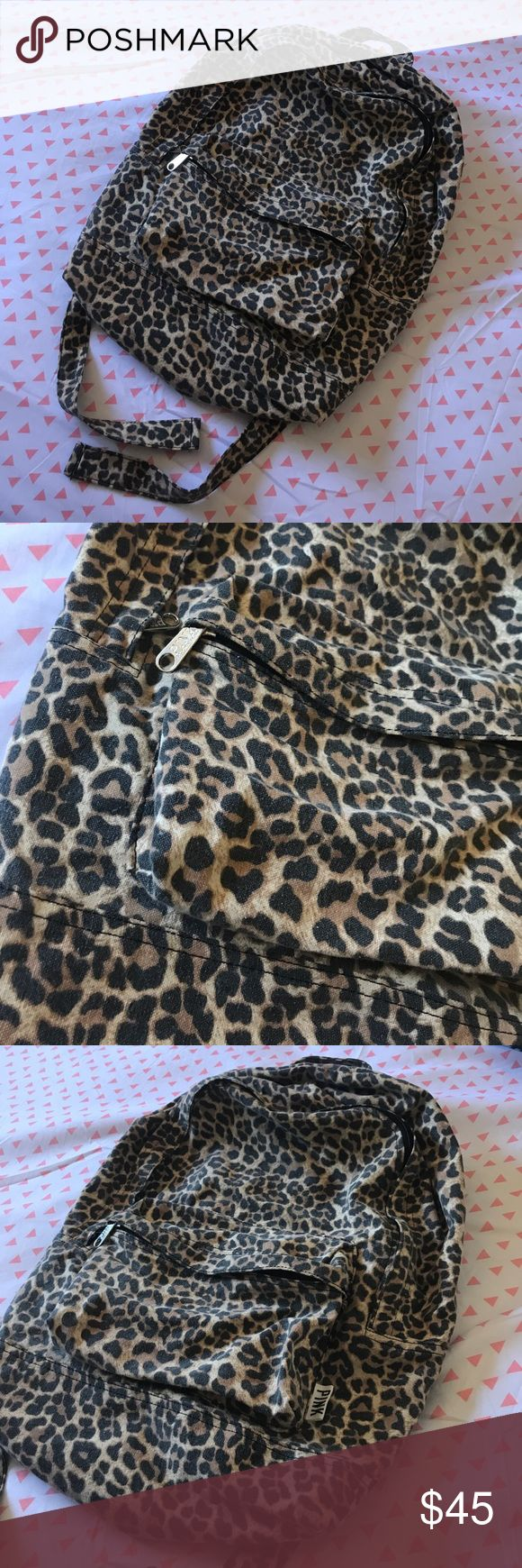 🐆 VS PINK Backpack🐆 Gently used, cheetah print, slightly faded, but no rips, tears, or stains!! Black, brown & tan in color. Zipper tabs are still solid chrome, no peeling or fading on them. 1 big zipper, & 1 small front zipper porch. Adjustable straps. Trendy, cute, & perfect for back to school🍎 PINK Victoria's Secret Bags Backpacks