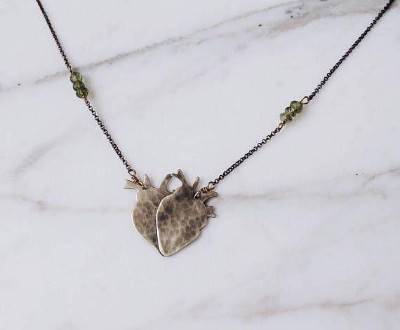 Double heart necklace anatomical heart amulet, brass and gemstones, #protection #anatomy #heart #heartjewelry #anatomicalheart #doubleheart #brassjewelry #lovejewelry #loveamulet #lovenecklace #jewellery #jewellerylove #boho #bohochic #bohostyle #bohojewelry #bohobride #gypsy #gypsychic  #fashionstyle #bohonecklace #gypsynecklace
