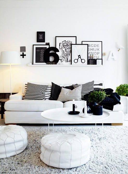 Black & white living room Love the scissor pic