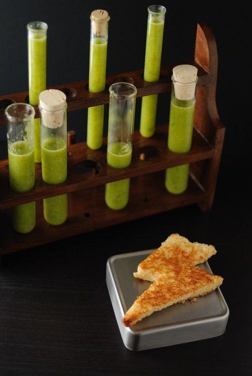 Doctor Pretorius' Cream of Asparagus Soup served in test tubes & lightning bolt sandwiches