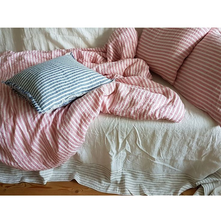 Stonewashed pure linen bedding set pink-white striped, duvet cover and 2 pillowcases by DejavuLinen on Etsy