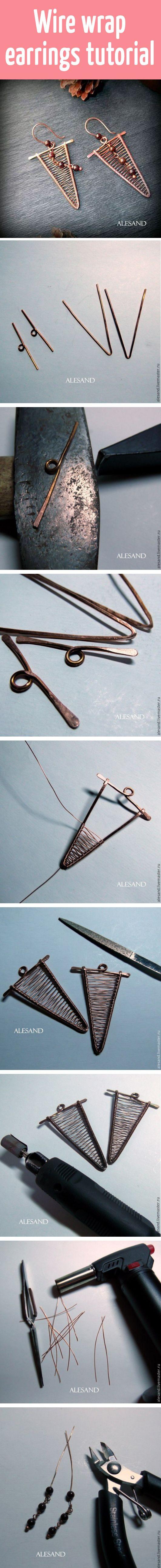 Wire wrap earrings tutorial