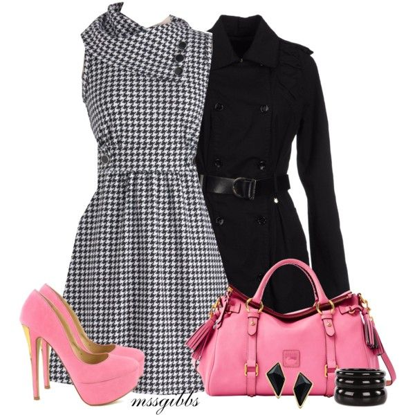 """Houndstooth dress"" by mssgibbs on Polyvore"