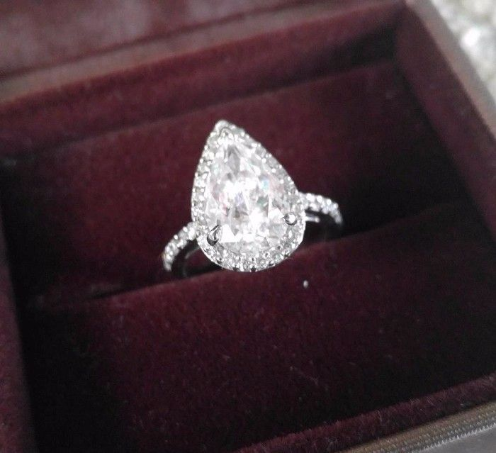 3.12 Carat 2.64 Center Pear Teardrop Diamond Halo Engagement Ring Enhanced on DiamondBistro