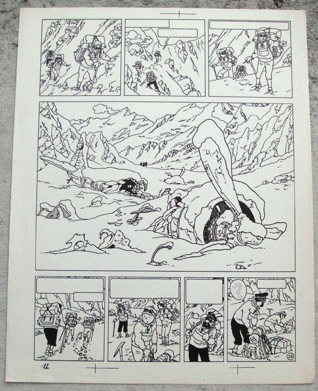Hergé Tintin au Tibet planche 28 ( copie de Bleu), in Philippe Madar's Bandes dessinées planches Comic Art Gallery Room - 853883