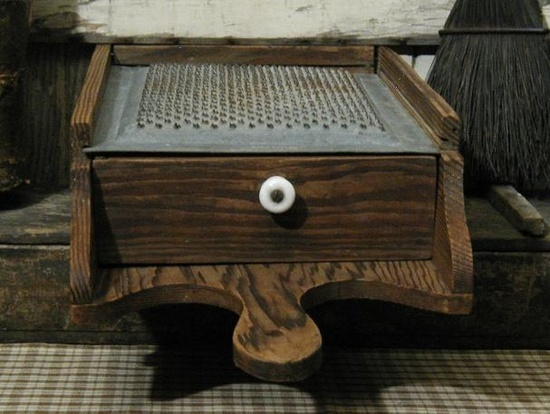 antique box cheese grater