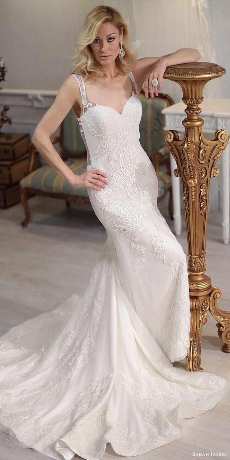 sarah jassir bridal 2018 sleeveless illusion straps sweetheart heavily embellished wedding dress (maya) mv chapel train elegant -- Sarah Jassir 2018 Wedding Dresses